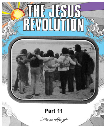 Jesus People gathered on beach with colot