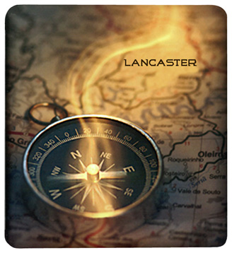 Compass on map to Lancaster