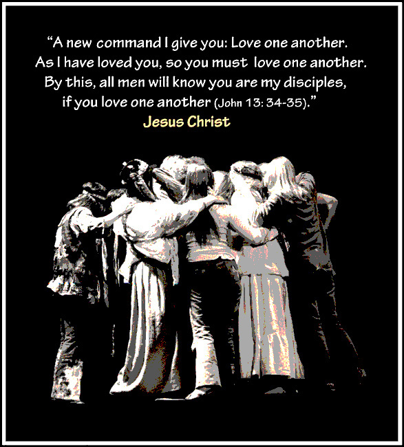 Cast hugging under Jesus saying: A new command I give you: Love one another.