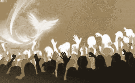 Holy Spirit dove above crowd of people with up-streatched arms