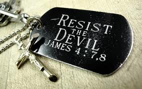 Resist the Devil Tag and Crucifix
