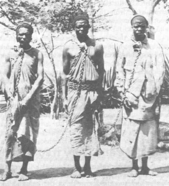 African slaves in chains mid-19th c.