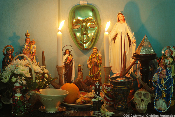 Santeria altar with Catholic saints