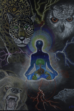 man floating in darkness amidst animals: tiger, owl, wolf. Man has cosmic tree painted on his body.