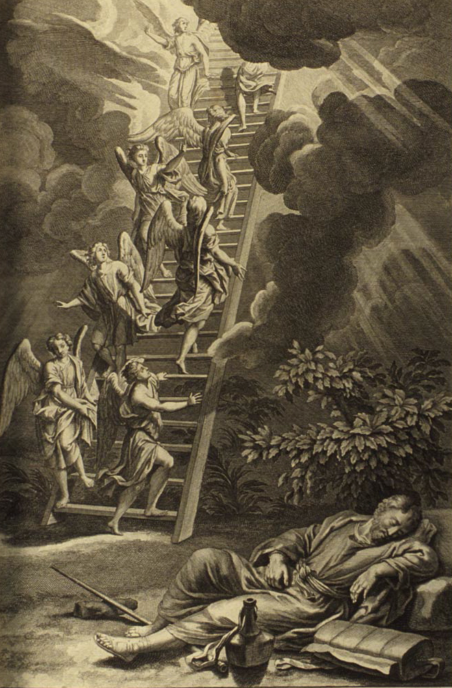 1728 illustration of Biblical story of Jacob dreaming of the ladder to heaven