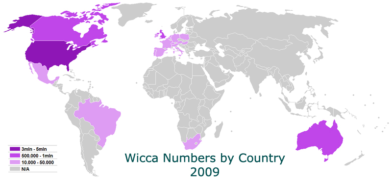 World map of Wicca
