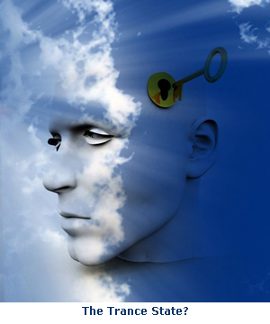man's head against blue sky and key unlocking his mind