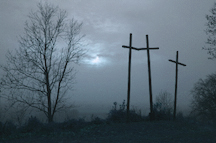 Three crosses on a hill with tree